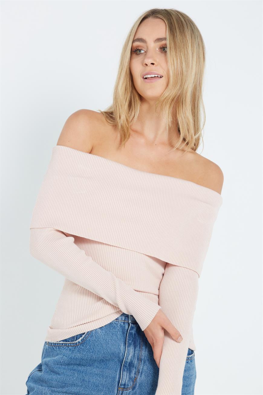 Cotton On Women - Myra Rib Fold Over - Shell pink 9351533247303