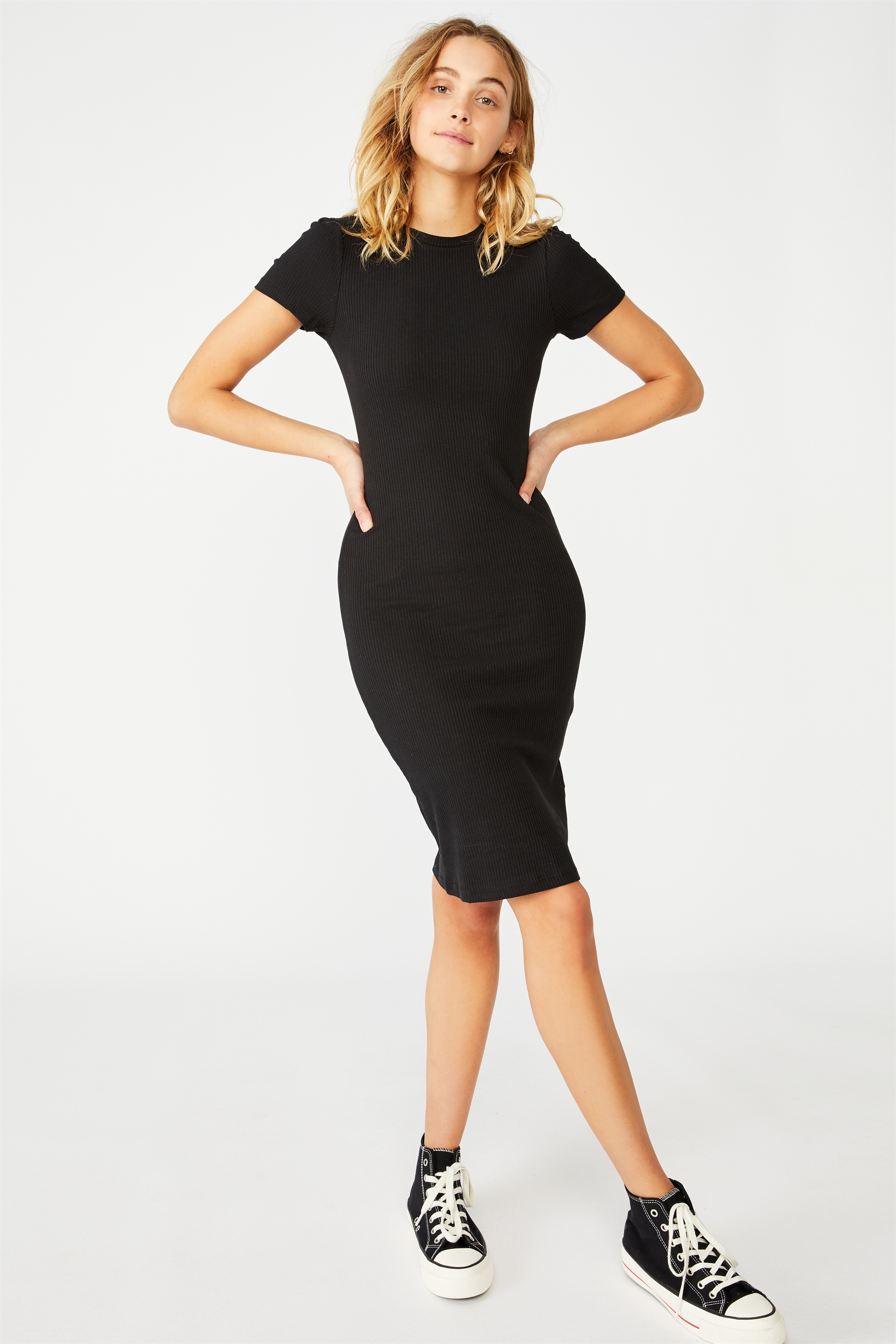 b3e3947779ca ... Giselle Short Sleeve Midi Dress, BLACK RIB ...