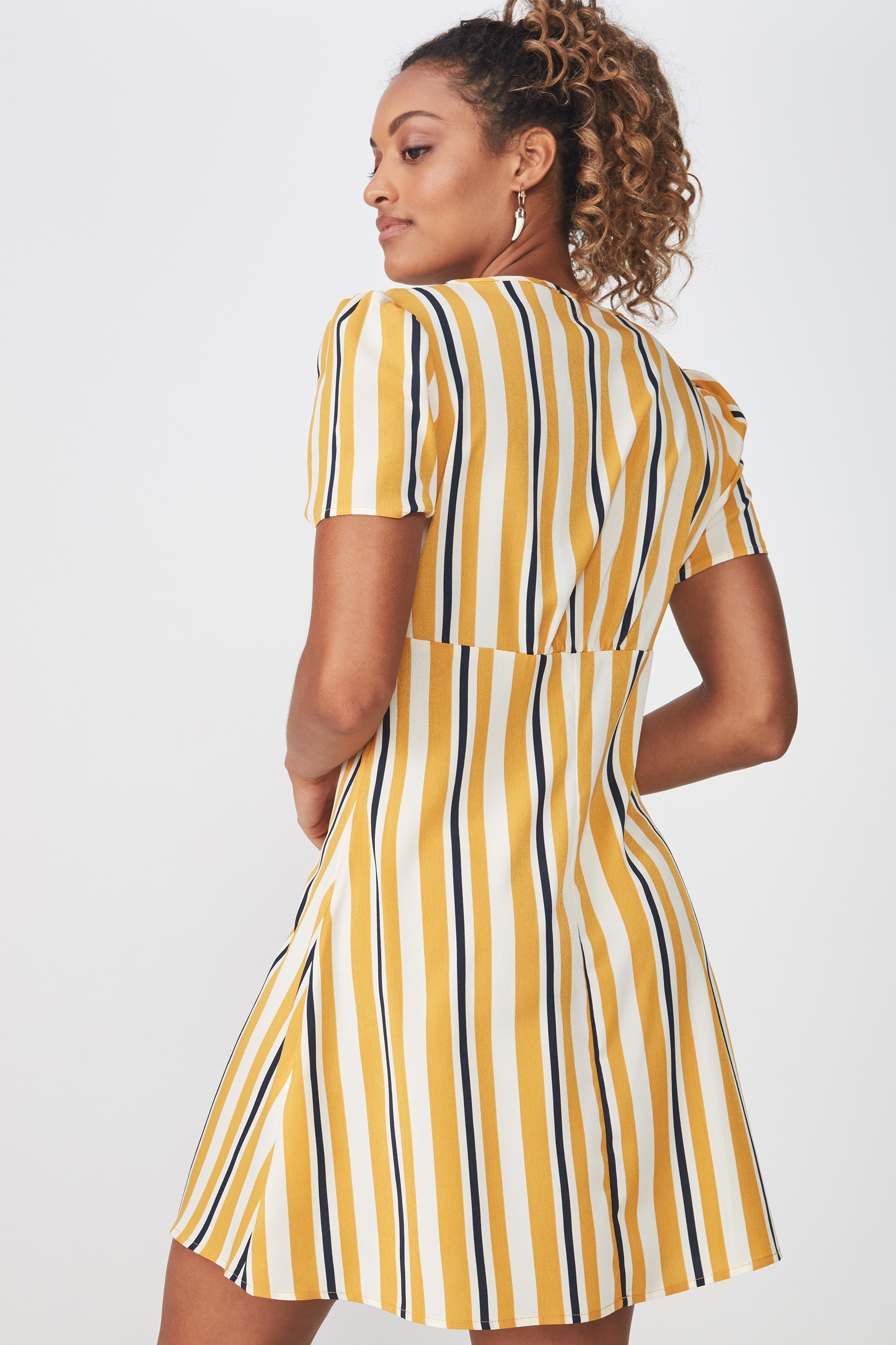 72b25823522c ... Woven Dotti Deep V Puff Sleeve Mini Dress, DAISY STRIPE GOLDEN YELLOW  ...
