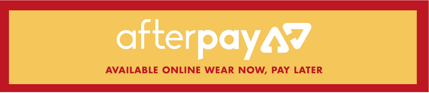 Afterpay. Available online. Wear now, pay later